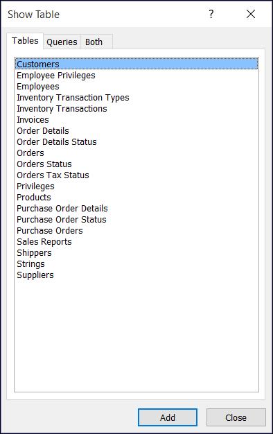 Диалоговое окно для добавления таблицы в Access, в котором показаны названия таблиц