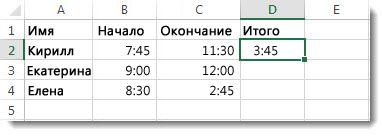 Вычитание одного значения времени из другого для вычисления затраченного времени