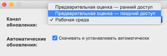 """Изображение окна """"Автоматическое обновление Майкрософт"""" -> """"Параметры"""" для Mac с переключателем вариантов """"Предварительная оценка — поздний доступ"""" и """"Предварительная оценка— ранний доступ""""."""