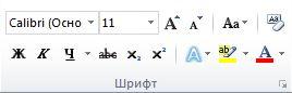 """Группа """"Шрифт"""" на вкладке """"Главная"""" ленты приложения Word 2010."""