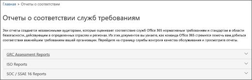 Показана страница контроля качества обслуживания: Отчеты о соответствии служб требованиям.