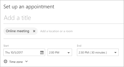 Страница назначения встречи