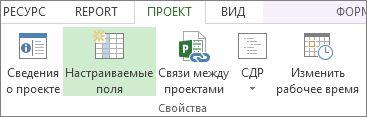 """Команда """"Настраиваемые поля"""" на вкладке """"Проект"""""""