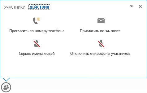 """Снимок экрана с изображением меню, которое появляется при наведении указателя мыши на кнопку """"Люди"""" на вкладке """"Действия"""""""