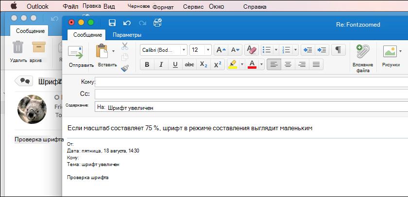 Размер шрифта в Outlook для Mac