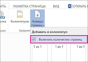 """Флажок, который нужно установить, чтобы вместе с номерами страниц отображалось их общее количество (""""Страница X из Y"""")."""