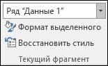 """Выбор пункта """"Ряд"""" в параметрах диаграммы на вкладке """"Формат"""" в группе """"Текущий фрагмент"""""""