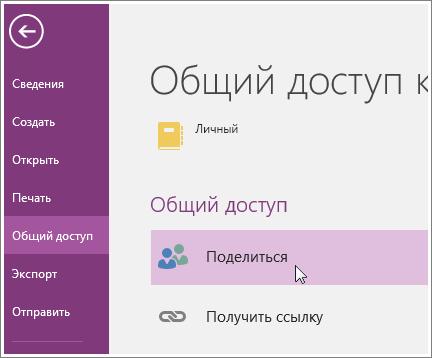 Снимок экрана: предоставление общего доступа в OneNote2016.