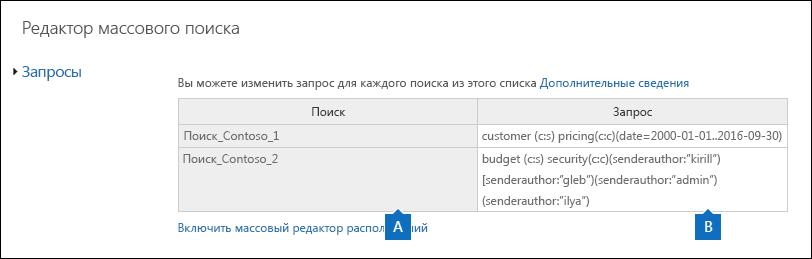 На странице редактора массового поиска отображаются запросы для выбранных операций поиска.