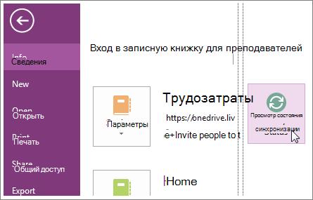 Просмотр состояния синхронизации записных книжек OneNote.