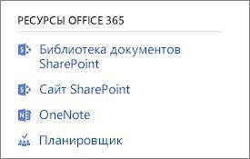 Снимок экрана с отображением Office 365 ресурсов
