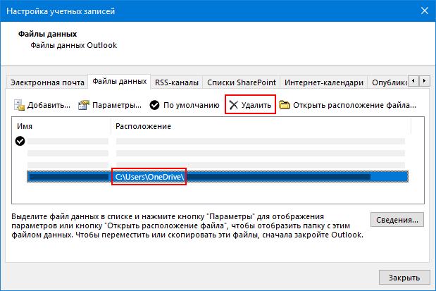 Диалоговое окно «файлы данных Outlook»