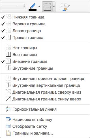 Показаны параметры границ для конструктора таблиц