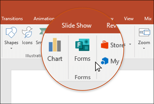 Значок форм в PowerPoint