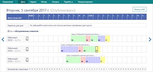 Снимок экрана: просмотр действий Staffhub в веб-браузере