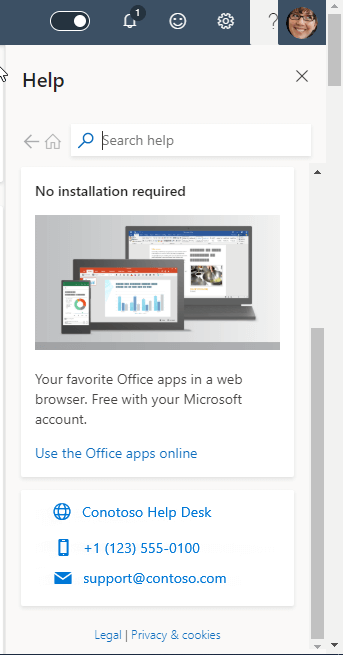 Снимок экрана, на котором показаны сведения о поддержке организаций