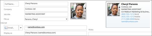 Можно добавить или изменить фотографию контакта.