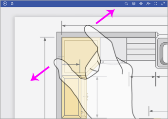 Чтобы увеличить масштаб, коснитесь схемы двумя пальцами и разведите их.