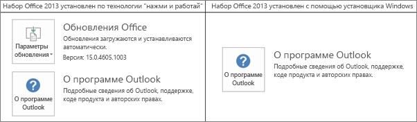 """Рисунок, позволяющий определить способ установки Office2013: с помощью технологии """"нажми и работай"""" или MSI-файла"""