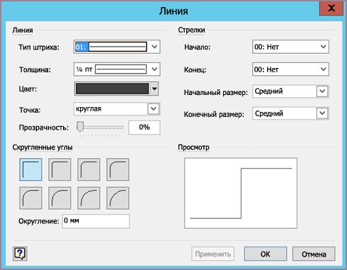 Окно форматирования линии