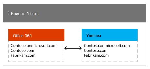 Один клиент Office 365, сопоставленный с одной сетью Yammer
