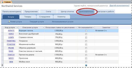 """Вкладка """"Дополнительно"""" шаблона базы данных """"Услуги"""""""