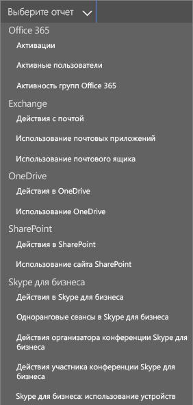 Выбор доступных отчетов в Office 365
