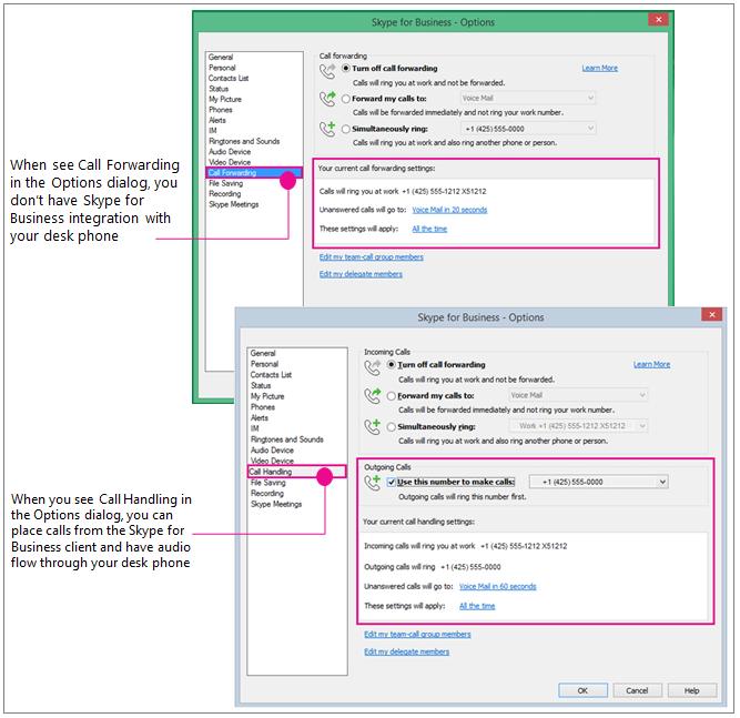 Сравнение диалогового окна параметров с отображением переадресации звонков и обработки обращений