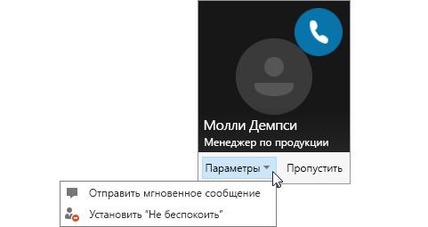 """Снимок экрана: уведомление о звонке с открытым меню """"Параметры"""""""