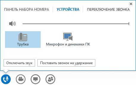 Снимок экрана: элементы управления звонками