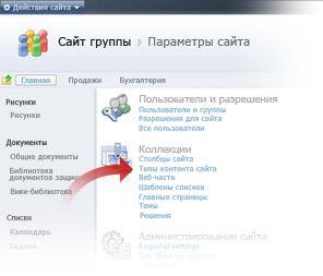 Выбор типов контента сайта в окне параметров сайта
