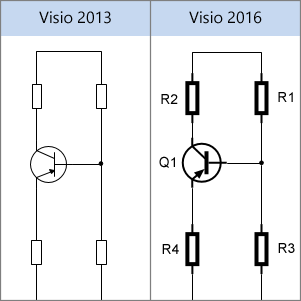 Фигуры для электрических схем в Visio2013 и Visio2016