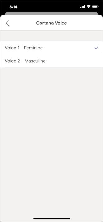 Мобильный экран выбора голосового экрана кортаны