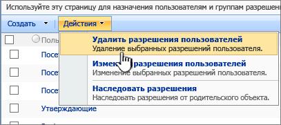 """Команда """"Удалить разрешения пользователя"""" в меню """"Действия"""""""