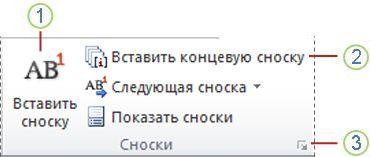 Word 2010: группа ''Сноски'' на вкладке ''Ссылки''