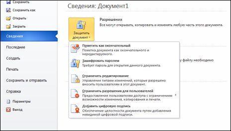 """Кнопка """"Защитить документ"""" с параметрами"""