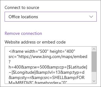 Пример кода внедрения для отображения местоположений