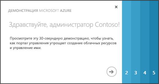 Снимок экрана: страница приветствия с коротким обзором Azure, в котором в течение 30секунд демонстрируются возможности портала управления для создания облачных ресурсов и управления ими.