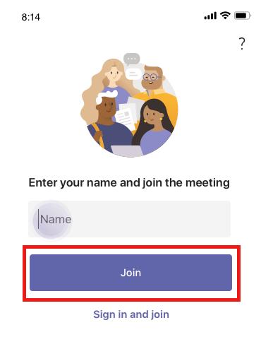 Присоединение к записной книжке с помощью Teams на мобильном устройстве