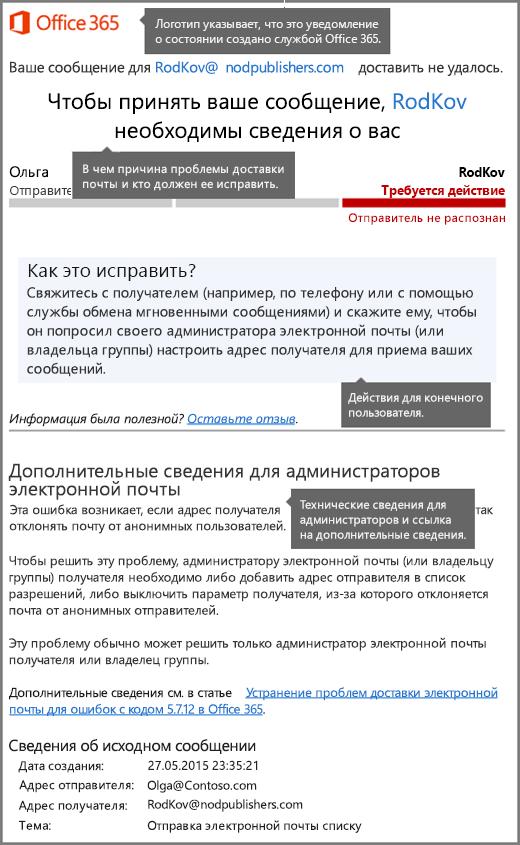 Новый формат уведомления о доставке (DSN) в Office365