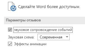 """Частичный вид группы параметров """"Специальные возможности"""" Word"""