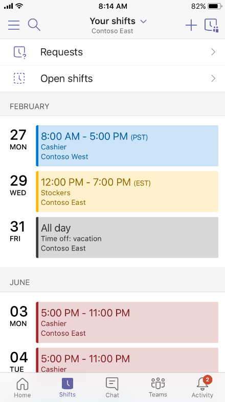 Календарь смен