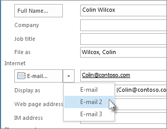Добавление адреса электронной почты контакта