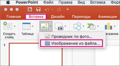"""Показана команда """"Вставка"""" > """"Рисунки"""" > """"Из файла"""" в PowerPoint2016 для Mac"""