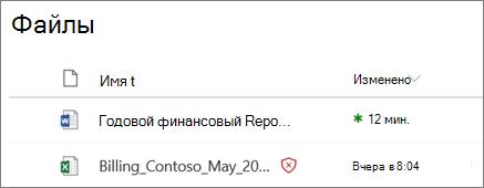 Снимок экрана: файлы в OneDrive для бизнеса, обнаруженные как вредоносные