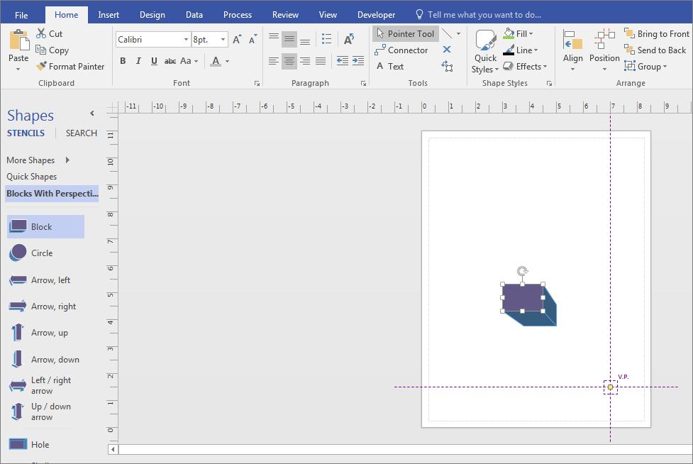 """Перетащите фигуру из набора элементов """"Трехмерные блоки"""" на страницу документа."""