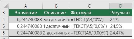 Коды форматов для процентов