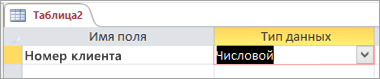Имя и тип данных первого поля в новой таблице Access