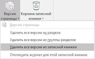 """Меню """"Версии страницы"""" в OneNote2016"""