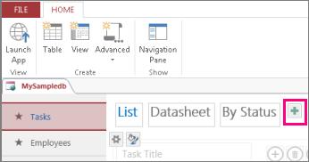 Добавление представления списка с клиента Access